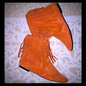 NWOT SAM EDELMAN Ursula Suede Fringe Ankle Boots-7